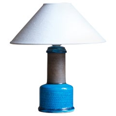 Nils Kähler, Table Lamp, Blue-Glazed Stoneware, Kähler, Denmark, 1950s