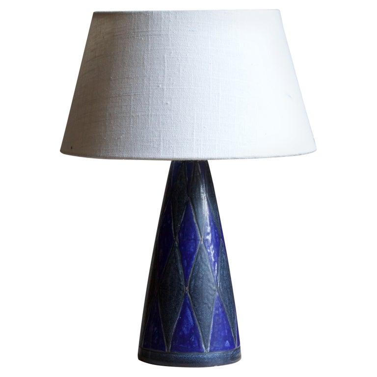 Marianne Starck, Table Lamp, Blue Stoneware, Michael Andersen, Denmark, 1960s For Sale