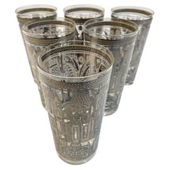 Vintage Set of 6 Georges Briard Highball Glasses in the Facade Pattern