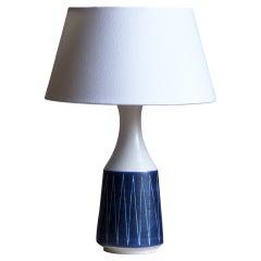 Andersson & Johansson, Table Lamp, Blue Glazed Ceramic, Höganäs, Sweden, c 1940s