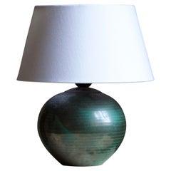 Upsala-Ekeby, Table Lamp, Green Glazed Incised Earthenware, Sweden, 1930s