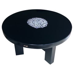 Resin Low Table with Bone Inclusion Signed Ado Chale, Belgium 1980