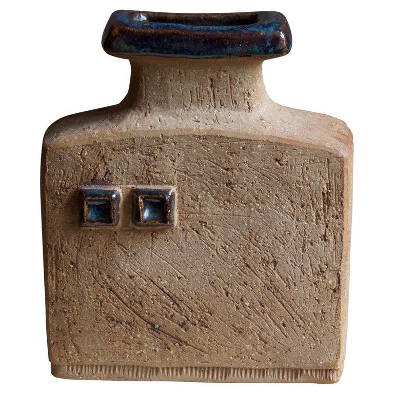 Curt Addin, Studio Vase, Semi-Glazed Stoneware, Artists Studio, Sweden, 1970s For Sale
