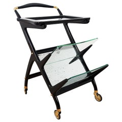 1950´s Small Bar Cart and Magazine Rack by Cesare Lacca, Mahogany, Glass, Italy