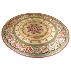 Round Circular Mid 19th C. Ivory Beige Floral French Aubusson Tapestry Rug