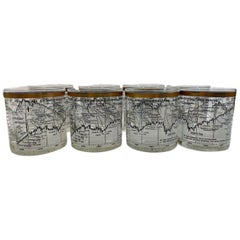 Vintage Cera Glass, 8 Dow-Jones Industrial Average 1958-1968 Rocks Glasses