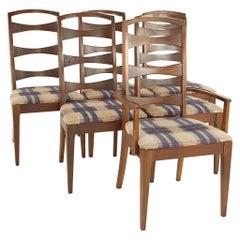 Lenoir House Mid Century Walnut Ladder Back Dining Chairs, Set of 6