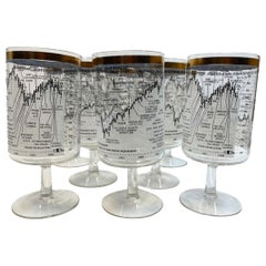 Vintage Cera Glass, 8 Dow-Jones Footed Cocktail Glasses for 1958-1968