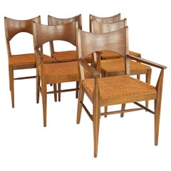 Broyhill Saga Mid Century Walnut Dining Chairs, Set of 6