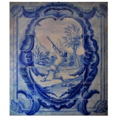 "18th Century Portuguese ""Azulejos"" Panel ""Hunting Scene"""