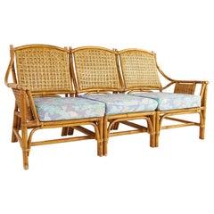 Ficks Reed Style Mid Century Bamboo Rattan 3 Piece Sofa