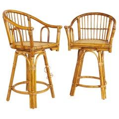 Ficks Reed Style Mid Century Bamboo Rattan Bar Stools, Pair