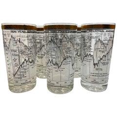 Vintage Cera Glass, 8 Dow-Jones Industrial Average 1958-1968 Highball Glasses