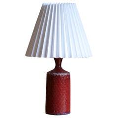 Stig Lindberg, Small Table Lamp, Red Glazed Stoneware, Gustavsberg, Sweden 1950s