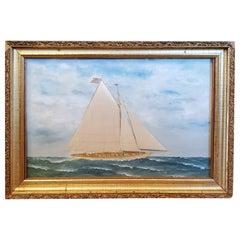 Thomas Willis Silk Embroidered Seascape, circa 1890