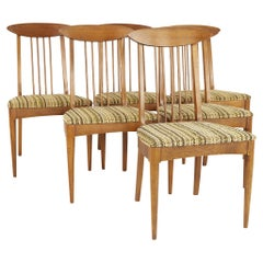 Broyhill Sculptra Walnut Cat's Eye Dining Chairs, Set of 6, No Captains Chairs