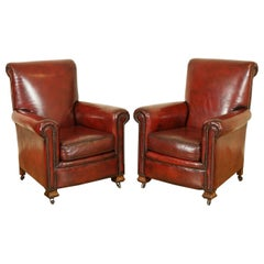 Stunning Restored Pair of Hand Dyed Victorian Gentleman's Club Leather Armchairs