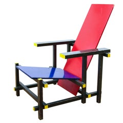 Red Blue Chair by Gerrit Rietveld for Cassina, Italy, De Stijl Modern, 1918