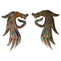 Exquisite Mexican Dragon Door Handle Set in Malachite Bronze Pepe Mendoza 1950s