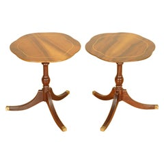 Stunning Vintage Pair of Flamed Mahogany Side End Tables