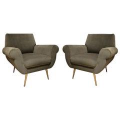 Pair of Sage Green Velvet Club Chairs