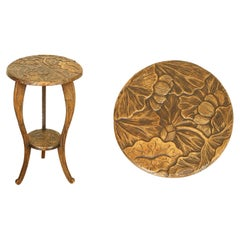 Stunning 1905's Liberty's London Hand Carved Occasional Side End Lamp Table