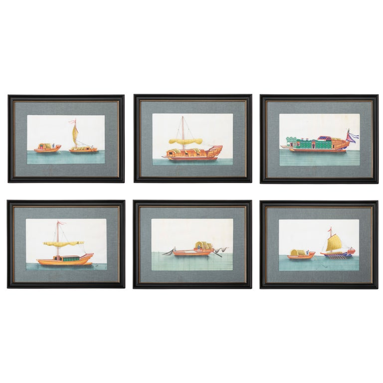 Set of Six 19th Century Chinese Export Pith Paintings of Junks