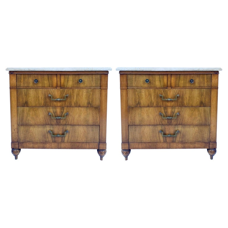 Mid-Century Walnut and Marble Side Tables / Chests by Widdicomb, Pair