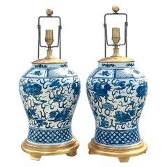 Vintage Regency Ralph Lauren Blue and White Foo Dog Ginger Jar Lamps, a Pair