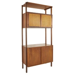 Founders Style MCM Walnut Cane Front Freestanding Wall Unit Section Bookcase