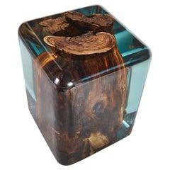 Epoxy Resin Stool, Walnut Stump Stool, Ready to Ship