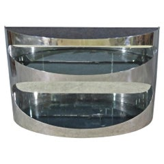 Chrome and Smoked Glass Console in the Style of Pierre Cardin