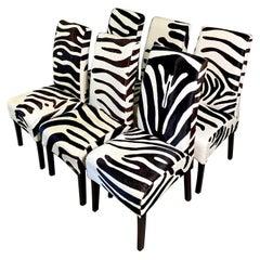 Contemporary Palecek Zebra Dining Chairs, Set of 6