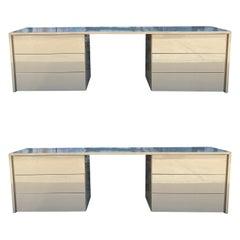 Pair Mid Century Paul Mayen High Gloss Taupe Dressers Desk for Habitat
