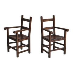 Set of Original Arts and Crafts Armchairs by Danish Cabinetmaker Oak and Leather