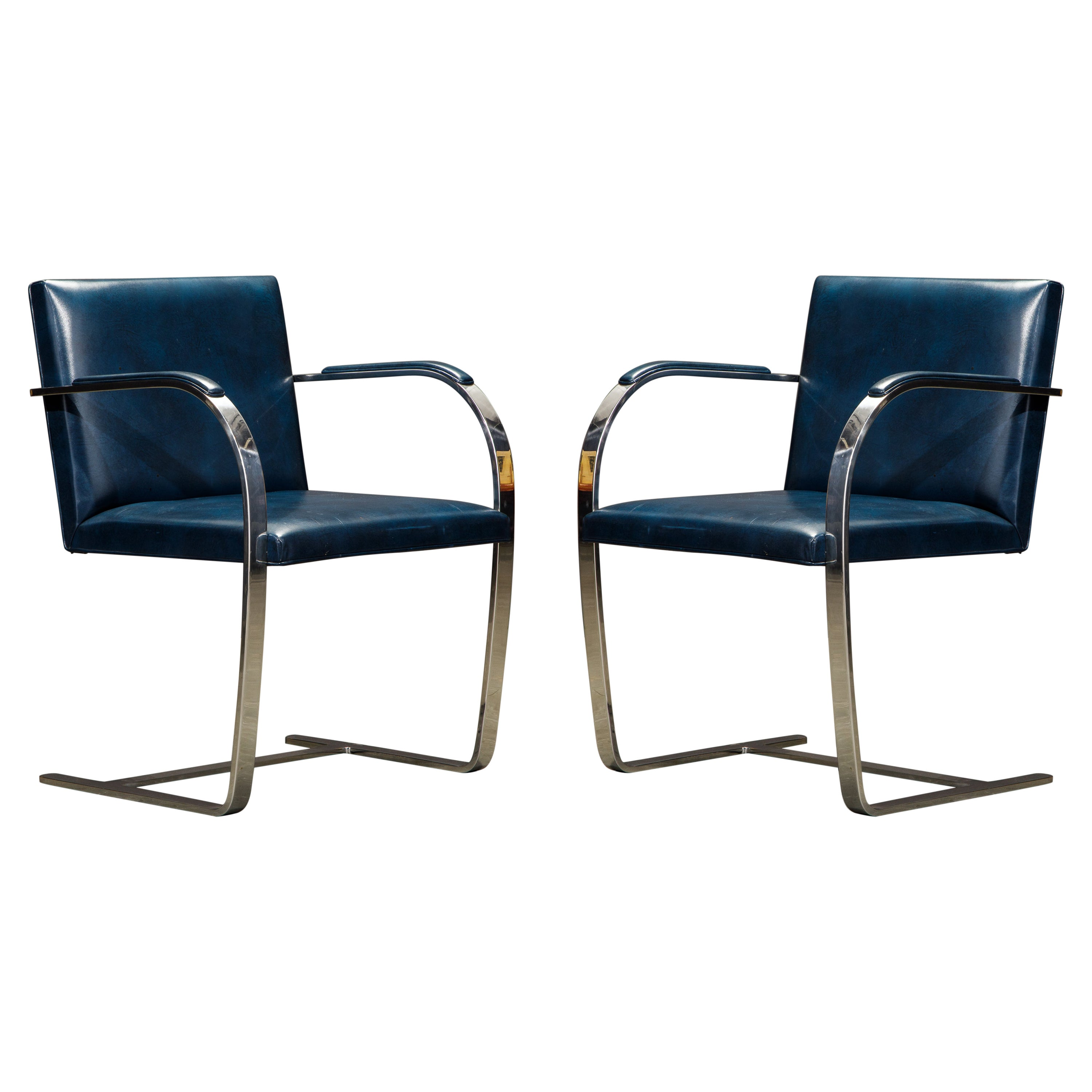 Knoll International Blue 'Brno' Armchairs by Mies van der Rohe, 1970s Signed