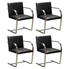 Knoll International Leather 'Brno' Chairs by Mies van der Rohe, 1987, Signed