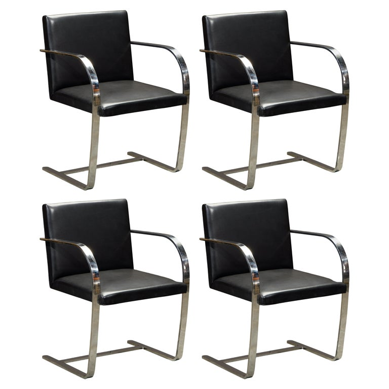 Knoll International Leather 'Brno' Chairs by Mies van der Rohe, 1987, Signed For Sale