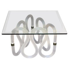 1980s Postmodern Frosted Lucite and Glass Sculptural Table