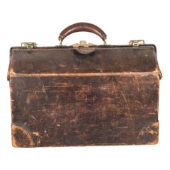Antique Leather Doctor's Examination House Call Bag, c.1930-1940