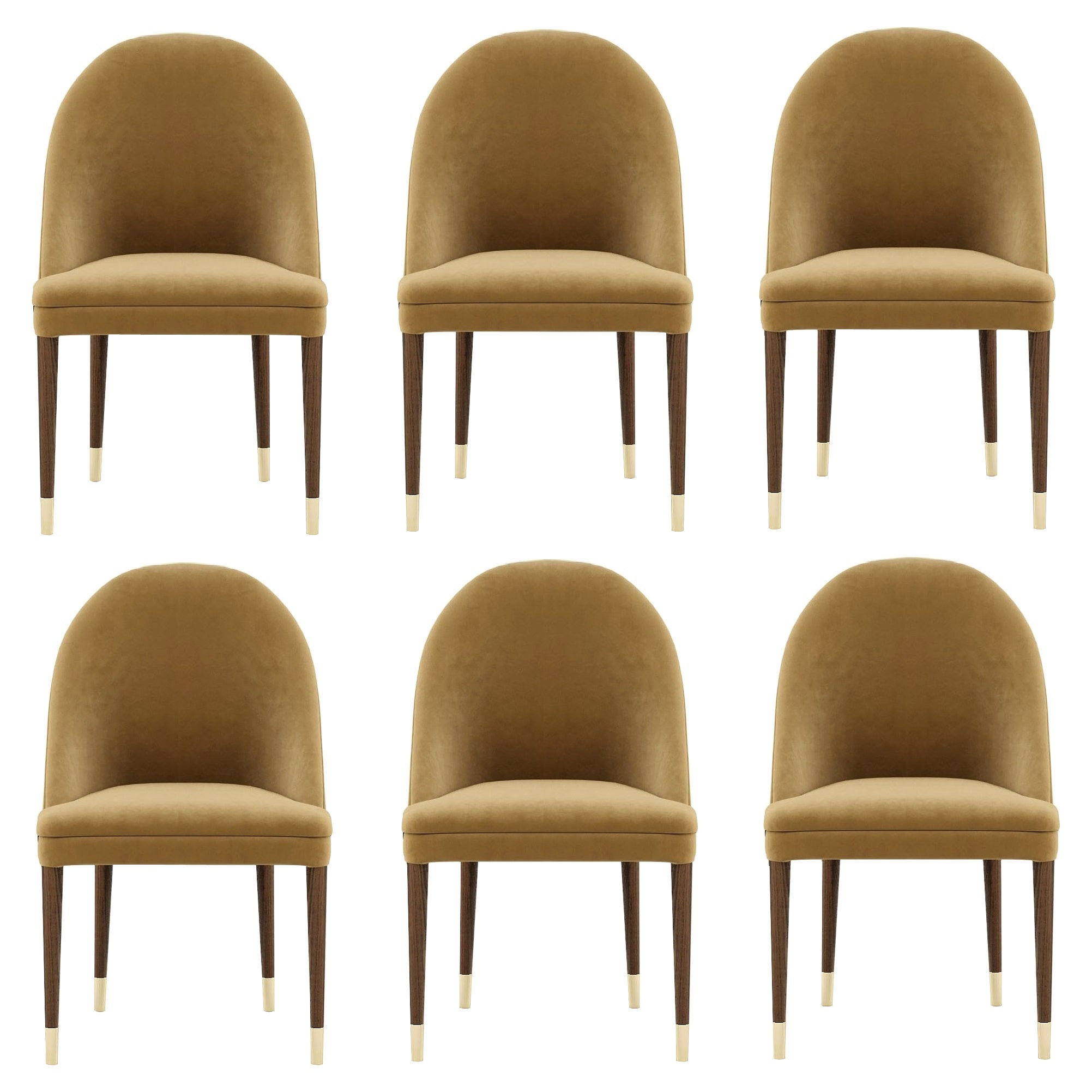 Contemporary Dining Chairs in Camel Velvet, Set of 6