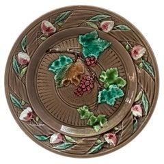 French Majolica Grape & Flowers Plate Luneville, circa 1880