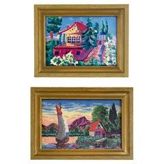 Vintage Gilt-Framed Needlepoint Landscape Artwork, a Pair