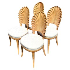 Vintage Coastal Cerused Grotto Dining Chairs. Set Of 4