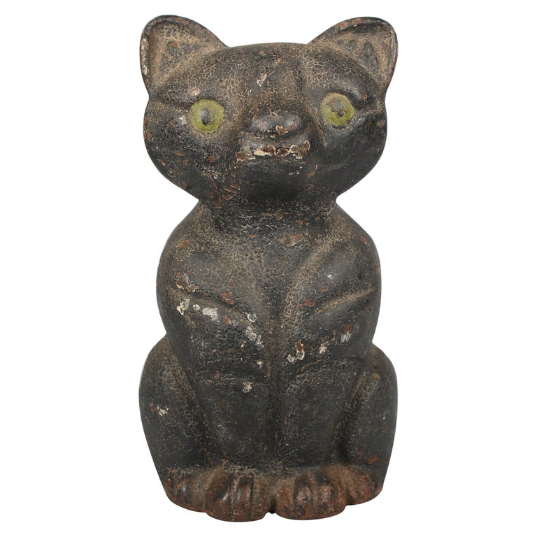 Antique Early 20th Century Cast Iron Cat Door Stop For Sale