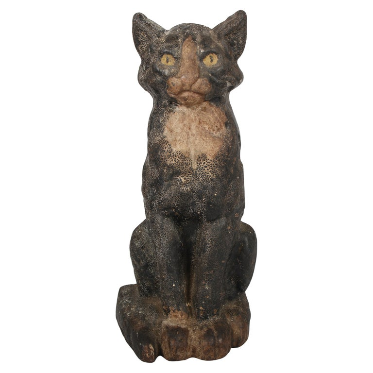 Antique Cast Iron Cat Door Stop by National Foundry