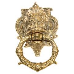 Vintage Solid Brass Italian Gothic Devil Door Knocker
