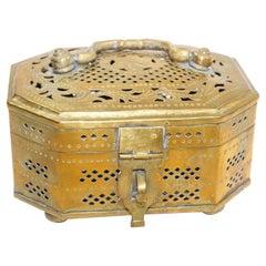 Mughal Indian Polished Brass Pierced Incense Box
