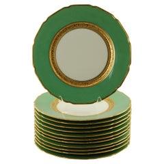Antique Tressemanes & Vogt Porcelain Dinner Plates with Green Band and Gilt Trim