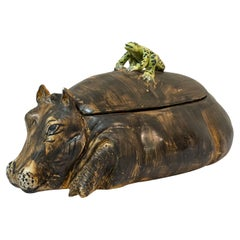 Mid-Century Italian Hippo and Frog Tureen Signed AG with a Coronet